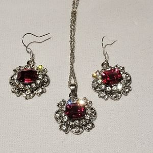 925 Sterling Silver Pendant Earrings Set New